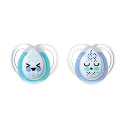 Pack 2 Chupetes Tommee Tippee Night Time 0-6m Azul