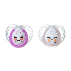 Pack 2 Chupetes Tommee Tippee Night Time 0-6m Rosa