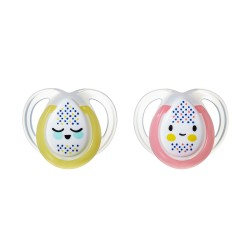 Pack 2 Chupetes Tommee Tippee Night Time 0-6m Amarillo